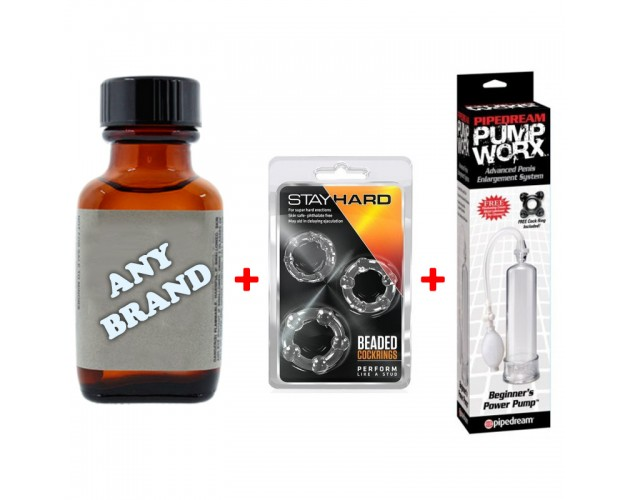 Any 30ml Poppers + Cockrings + Power Pump